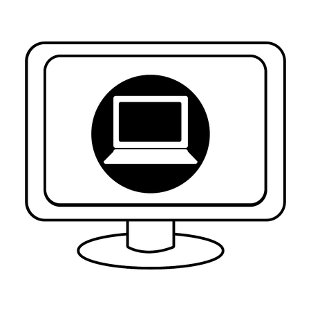 electronic device: electronic device screen with black circle and laptop icon over isolated background,vector illustration