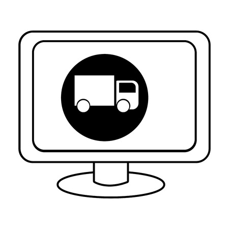 electronic device: electronic device screen with black circle and truck icon over isolated background,vector illustration Illustration