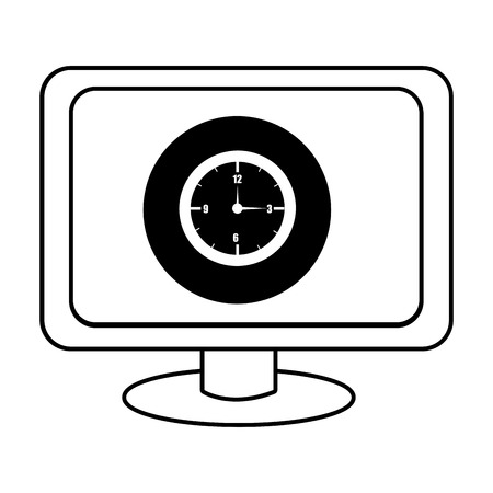 electronic device: electronic device screen with black circle and watch icon over isolated background,vector illustration Illustration