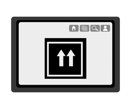 electronic device: black electronic device with black box and arrows icon on the screen over isolated background,vector illustration Illustration