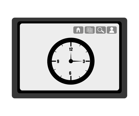 electronic device: black electronic device with black clock and media  icon on the screen over isolated background,vector illustration