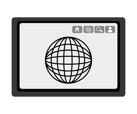 electronic device: black electronic device with black world map and media  icon on the screen over isolated background,vector illustration Illustration
