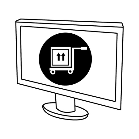 electronic device: electronic device screen with black circle and freight car and box icon over isolated background,vector illustration