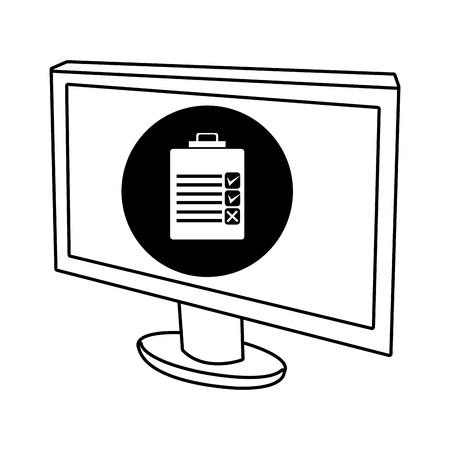 electronic device: electronic device screen with black circle and white chekclist  icon over isolated background,vector illustration Illustration