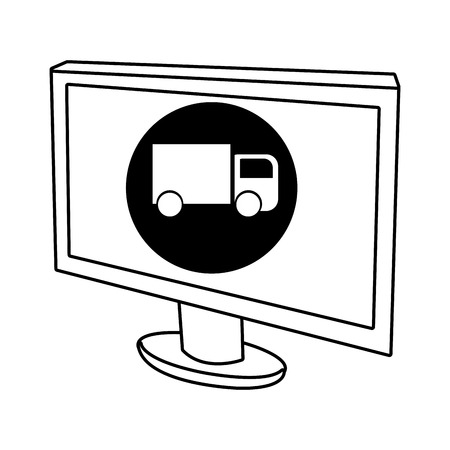 electronic device: electronic device screen with black circle and fwhite truck icon over isolated background,vector illustration