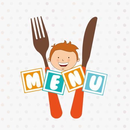 eating lunch: kids menu design, vector illustration eps10 graphic Illustration