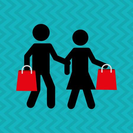 shoppers: people shopping design, vector illustration eps10 graphic Illustration