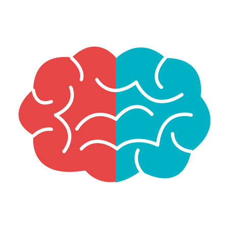 blue brain: red and blue brain over isolated background,vector illustration Illustration