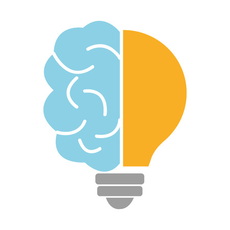 blue brain: half blue brain and yellow light bulb over isolated background,vector graphic