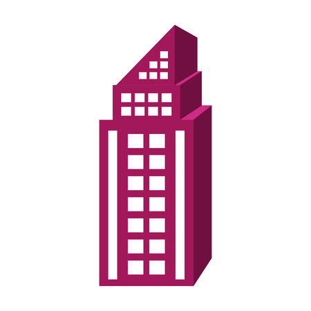 tall building: purple tall building with white windows over isolated background, construction city concept,vector illustration