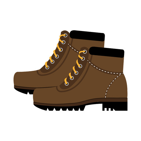 luminary: brown boots with yellow laces side view over isolated background,vector illustration