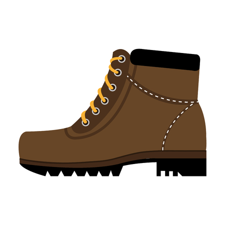 riding boot: brown boots with yellow laces side view over isolated background,vector illustration