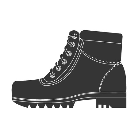 luminary: black boots with laces side view over isolated background,vector illustration
