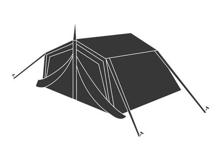 encampment: black camping tent side view over isolated background,vector illustration