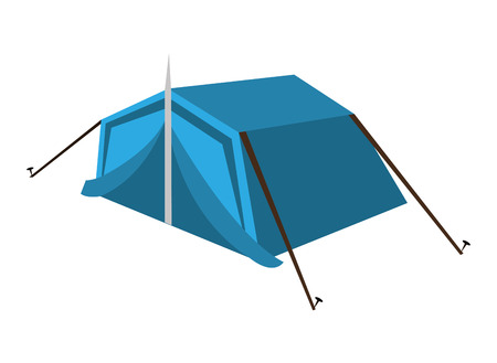 blue camping tent side view over isolated background,vector illustration