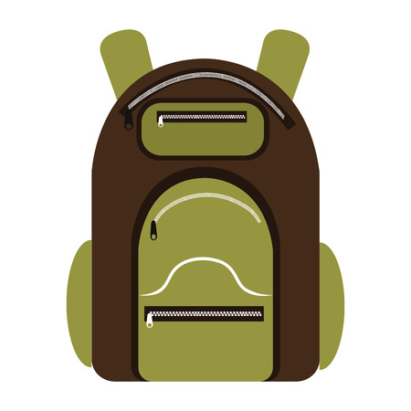 luminary: green and brown  camping backpack over isolated background,vector illustration