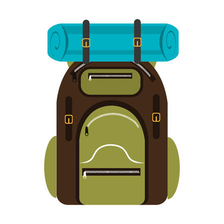 luminary: green and brown  camping backpack with blue on the top over isolated background,vector illustration Illustration