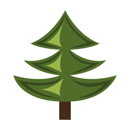 luminary: green pine tree with brown wooden log over isolated background,vector illustration Illustration