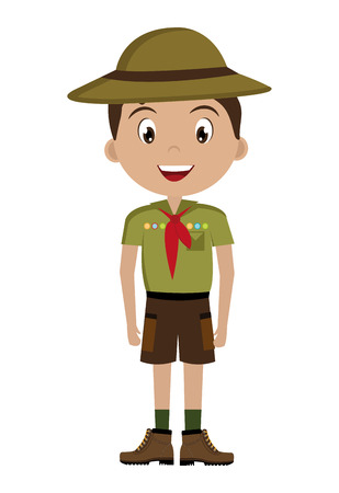 avatar boy wearing green clothes and hat with brown loop and red scarf over isolated background,vector illustration