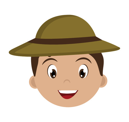 luminary: avatar boy wearing green hat with brown loop over isolated background,vector illustration Illustration