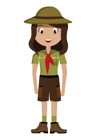 luminary: avatar girl wearing green clothes and hat with brown loop and red scarf over isolated background,vector illustration