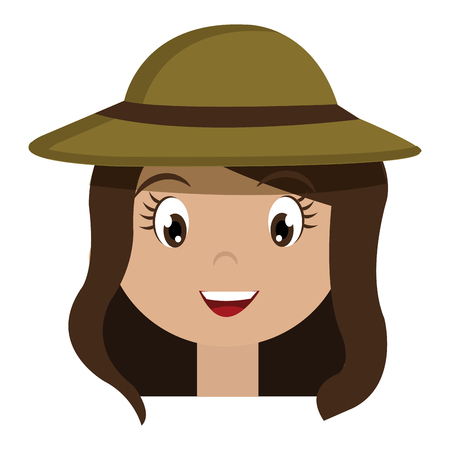 luminary: avatar girl wearing green hat with brown loop over isolated background,vector illustration Illustration