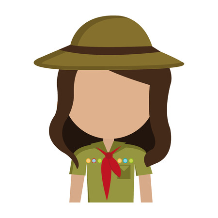 skimmer: avatar girl wearing green clothes and hat with brown loop and red scarf over isolated background,vector illustration