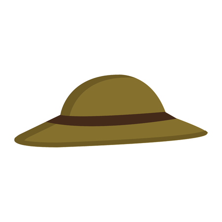 encampment: green hat with brown loop over isolated background,vector illustration