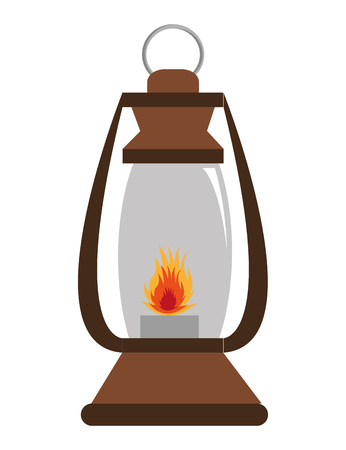 encampment: brown lantern with red flame over isolated background,vector illustration Illustration