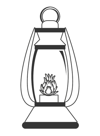 campground: lantern with flame over isolated background,vector illustration