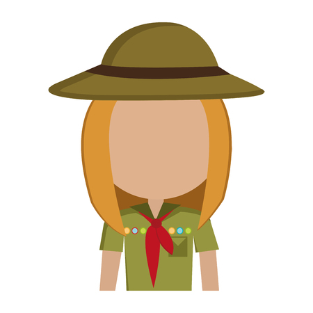 green clothes: avatar girl wearing green clothes and hat with brown loop and red scarf over isolated background,vector illustration