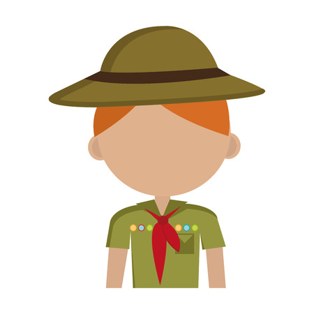 encampment: avatar boy wearing green clothes and hat with brown loop and red scarf over isolated background,vector illustration
