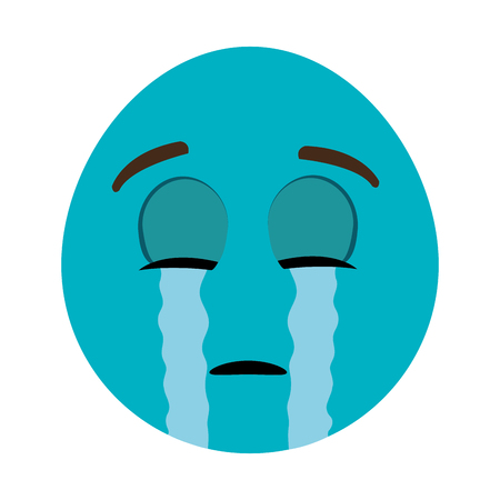 closed eyes: blue cartoon orbed face crying with closed eyes over isolated background,vector illustration Illustration