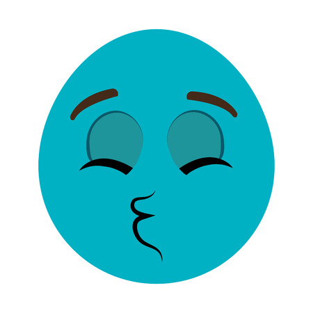 closed mouth: blue cartoon orbed face with closed eyes  and mouth wink over isolated background,vector illustration