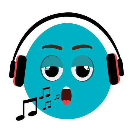 blue cartoon orbed face singing with musical notes and headphones rh 123rf com Vector Background Vector Background