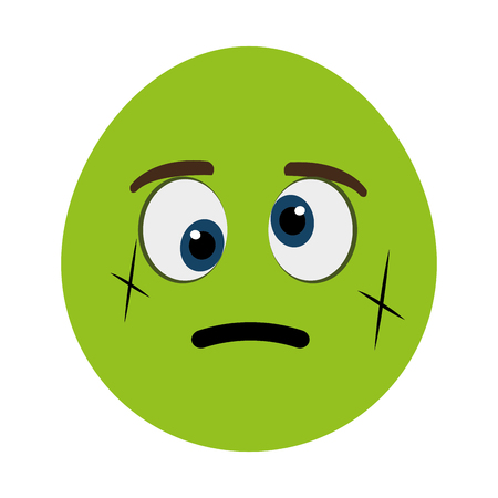 crooked: green cartoon face with crooked eyes over isolated background,vector illustration