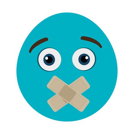boca cerrada: cara azul de dibujos animados con los ojos abiertos y la boca cerrada sobre fondo aislado, ilustración vectorial