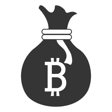 black money: black money bag with bitcoin signal and loop over isolated background,vector illustration