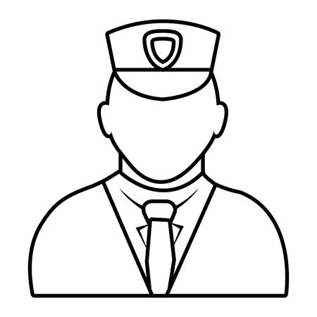 suit tie: police avatar wearing white suit tie and hat over isolated background,vector illustration