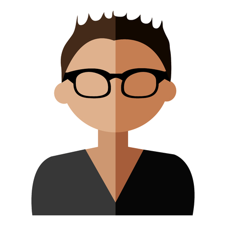 coloful: cartoon avatar man with coloful hair wearing eyeglasses front view over isolated background,vector illustration Illustration