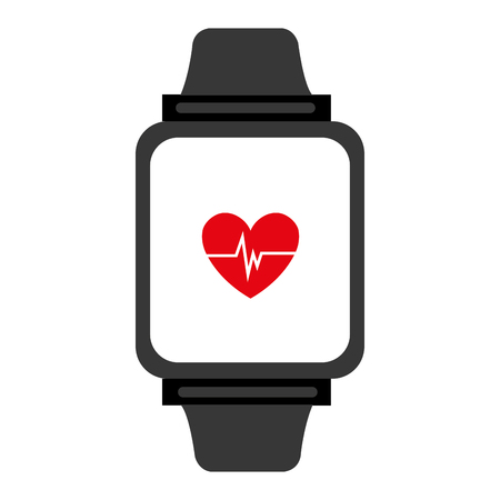 heart beats: electronic watch with media screen and heart beats  front view over isolated background,vector illustration