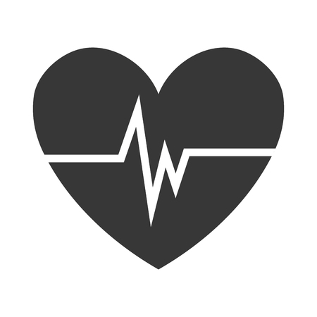 pulsating: black heart with white beats over isolated background,vector illustration
