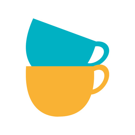learning to cook: blue and yellow cups set front view over isolated background,vector illustration Illustration