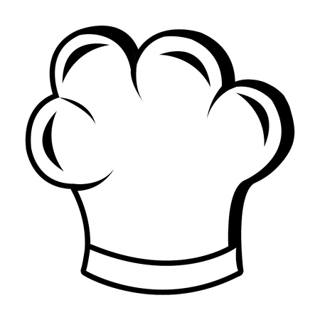 learning to cook: chefs hat front view over isolated background,vector illustration Illustration
