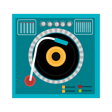 dj turntable: blue dj turntable with black and yellow disco front view over isolated background,vector graphic