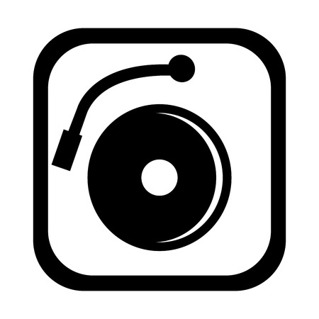dj turntable: black and white dj turntable with music disco front view over isolated background,vector illustration