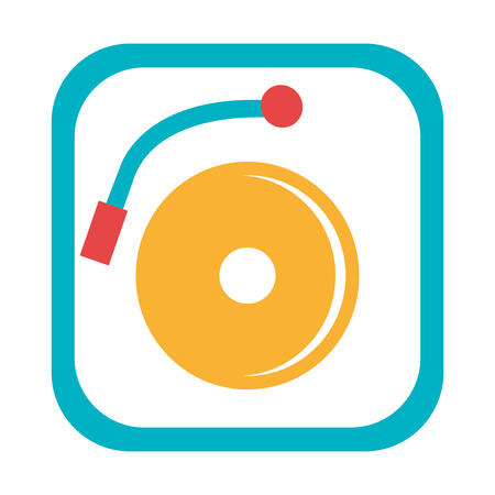 dj turntable: blue and yellow dj turntable with music disco front view over isolated background,vector illustration