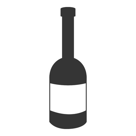 liquor bottle: black liquor bottle with white square front view over isolated background,vector illustration