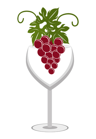 wine grapes: glass of wine with bunch of grapes front view over isolated background,vector illustration