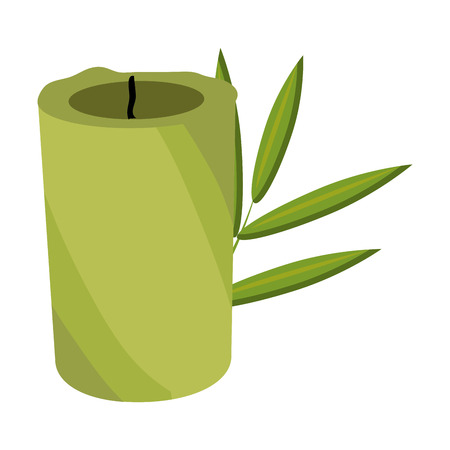 flower bath: green candle and tree leaves front view over isolated background,vector illustration